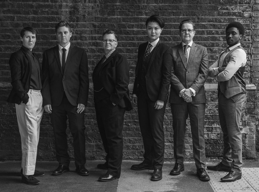 A line-up of six butches and masculine-presenting gender rebels, fabulously suited and booted. BUTCH-MONOLOGUES-Christa Holka(web).