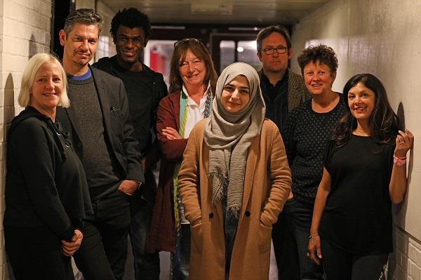 Photo of the Creative Team involved in the R&D (from left to right): Fiona Whitelaw, Hassan Mahamdallie, Charlie Folorunsho, Isobel Hawson, Khadija Raza, Simon Startin, Julie McNamara and Deni Francis.