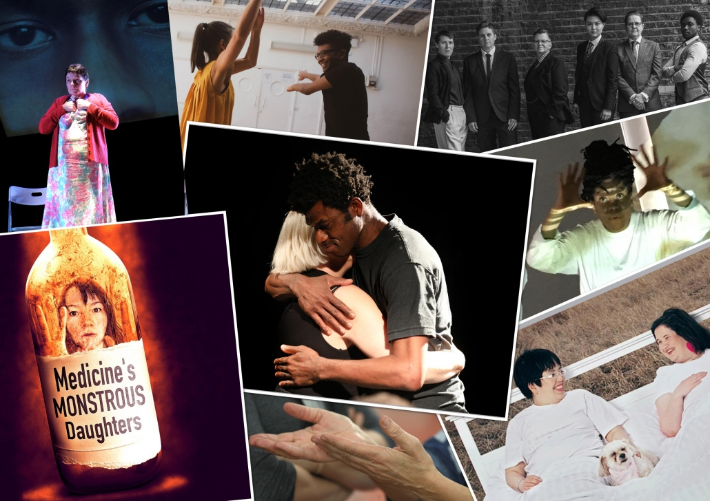 Collage of 8 photos from Vital Xposure's previous varied theatre and film work.