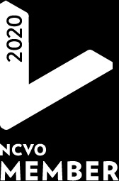 Black and white logo of the National Council of Voluntary Organisations.. The year 2020 is written on a big white V for 'voluntary'. White letters N C V O appear at the bottom against black background.