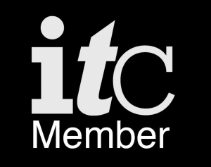 Black and White logo of the Independent Theatre Council Membership. White letters I T C and the word Member appear against black background