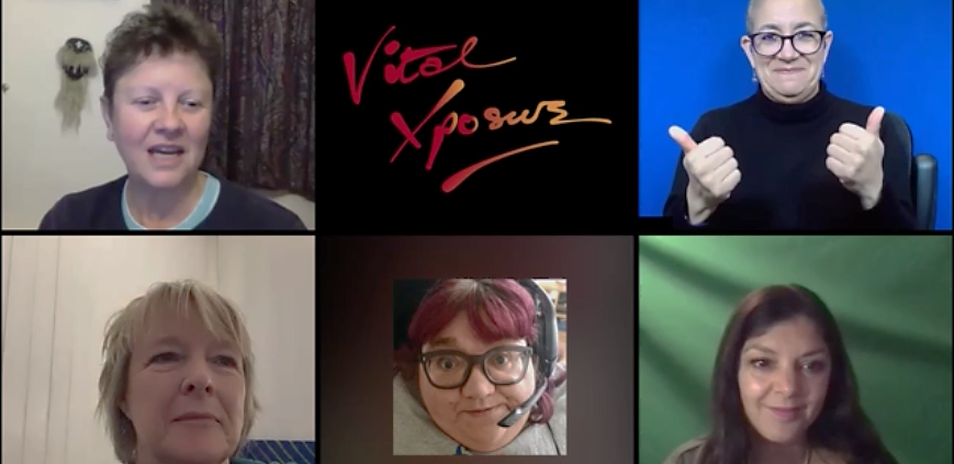 Screenshot of the online discussion panel event on Zoom. The image is split into 6 square blocks of equal size depicting profiles of the speakers and the company logo. Top row, from left to right: JulieMcNamara in a living room setting, Vital Xposure's red logo against black background and Clare Edwards the BSL Interpreter against a neutral blue background. Bottom row, from left to right: Penelope Freeman in a living room setting, Mandy Colleran's photo portrait wearing big glasses and a pair of headsets with mic, and Deni Francis against a neutral green background.