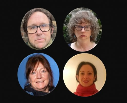 A composite image with four photo portraits encircled and against black background. Top: a white middle aged man, brown hair, and a white middle aged woman with grey short hair, the both wear glasses. Bottom: a white middle age woman with dark brown hair and a white woman in her 30s with black hair.