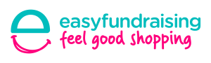The word 'easyfundraising' in light cyan above the phrase 'feel good shopping' in light magenta.