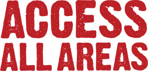 The words 'Access all Areas' in capital appear in red against white.