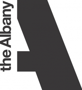 The capital letter A appears in black against white background. The letter's left line is formed the words 'the Albany' shown vertically, from bottom to top.