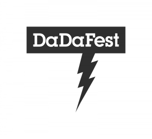 White letters against dark grey background. The letters read 'DaDaFest'. A sky-lighting in grey strikes down from the letter 'F'.