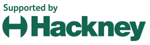Dark green letters in two lines against a white background. On the first line the letters read 'Supported by'. On the second line, the capital letter 'H' with rounded lines on either side, followed by the word 'Hackney'.