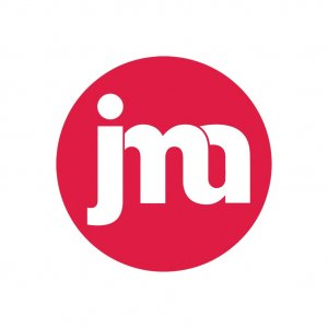 White letters enclosed in a red circle. The letters are lower case and read 'j', 'm', 'a'.