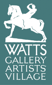 Dark green-cyan square logo. At the centre-top, white coloured shape of a man on a horseback, the horse raises its front left leg. Underneath, white upper case letters read WATTS GALLERY ARTISTS' VILLAGE.