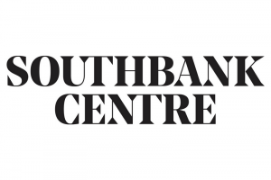 Block capital black letters arranged in two lines on white background. The letters read SOUTHBANK (top line) and CENTRE (bottom line).