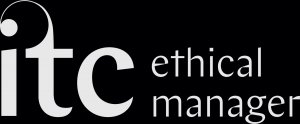 Black and white logo of the Independent Theatre Council Member. White letters in lower case read 'i', 't', 'c'. The top of the letter 't' extends and forms a curve to the left that ends on a dot above the letter 'I'. Next to it, on the right, the words 'ethical manager' in white colour.
