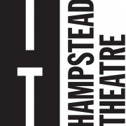 Black letters on white background. The capital letter H in large font on the left half of the image, the capital letter T is formed within the white space of the letter's bottom half. The words Hampstead Theatre on the right of the image, written vertically from bottom to top.