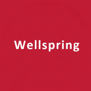 The word 'Wellspring' in white letters on a bright red background.